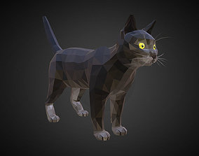Cat Black Low Polygon Art Farm Animal 3D model