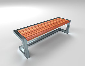 Architectural Park Wood stainless steel Bench 3D asset