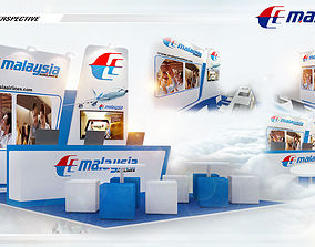 3D model Booth Malaysia Airline Size 6X4 m 24sqm