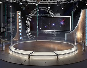 Virtual TV Studio Chat Set 23 3D model