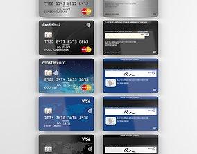 Mastercard and Visa credit cards 3D model