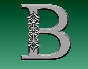 ornament 3D printable model letter B