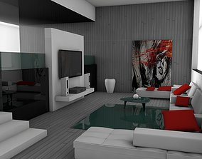 living room interior architectural 3D