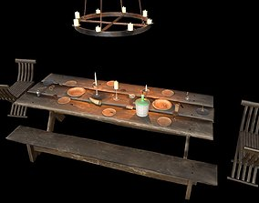 3D model Medieval Interior Candle and Dish Asset Pack