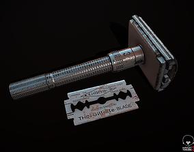 3D model low-poly Vintage Razor and Gillette
