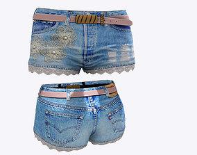 3D model Lace Edge Mini Shorts