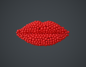 Lips shape - forming animation from spheres 3D