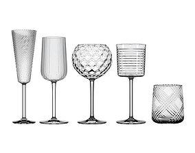 3D model Glassware set