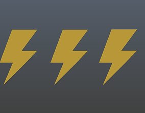 3D model Low poly thunder symbols