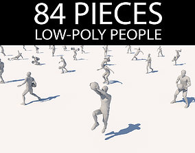 3D asset lowpoly people in motion pack