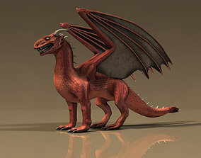 Winged Red Dragon 3D asset