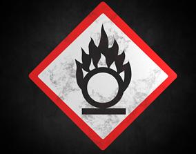 Oxidising warning sign 3D asset game-ready