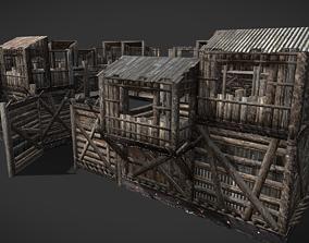 HQ Modular Wooden Fortification 3D asset