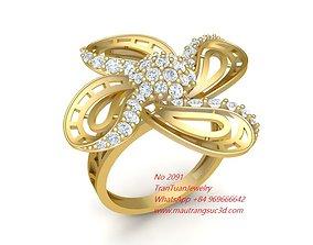 2091 Diamond Flower Ring 3D printable model