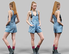Girl in jeans Salopet Red Socks and Boots Posing 3D asset