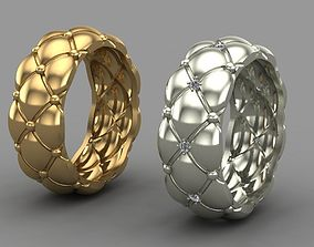 ring 3D print model Ring quilted matelasse