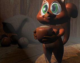 3D asset Cartoon Squirrel Rigged