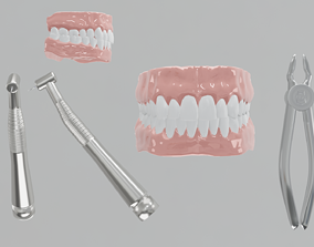 Dental Drill 3D model - mouth - forceps - game-ready