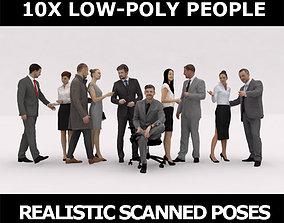 3D asset 10x LOW POLY BUSINESS PEOPLE VOL01 CROWD