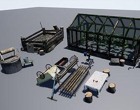 3D asset Greenhouse - Gardening Tools