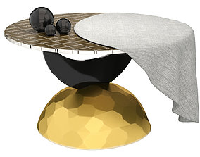3D empty Half Moon Coffee Table