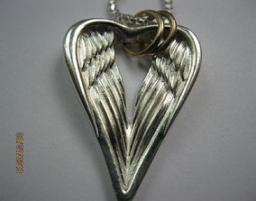 Heart-Angel wings pendant 3D printable model