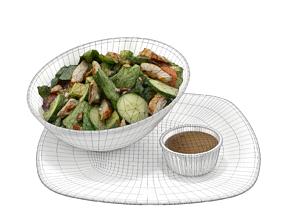 Feta Spinach Avocado Salad 3D asset