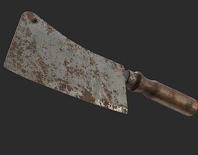 3D asset Cleaver Knife Old Rusty and Clean PBR Game Ready