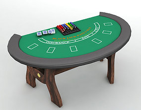 3D asset Casino Blackjack Table With Cards and Chips
