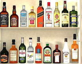 3D model Liquor Bottles With Bar Unit Interior