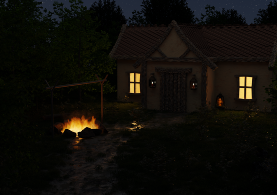 House and Campfire Scene
