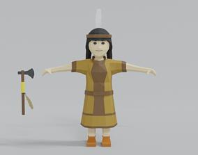 Low Poly Cartoon Native Indian Woman 3D model
