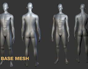 3D free base man mesh