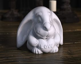 Rabbit with love heart 3D print model
