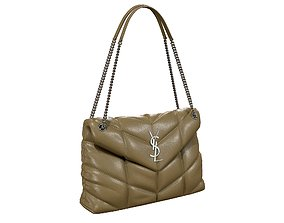 YSL Saint Laurent Loulou Puffer Bag Khaki 3D model