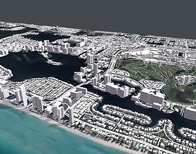 Cityscape Sunny Isles Beach Miami Florida USA 3D