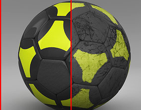 Soccerball black yellow 3D asset