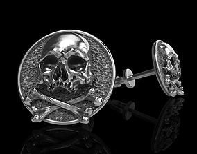 3D printable model skull earrings studs 2 rock