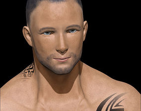 Male Low poly ready with tattoos 3D asset