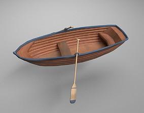 Rowboat with oars- blue stripe 3D model