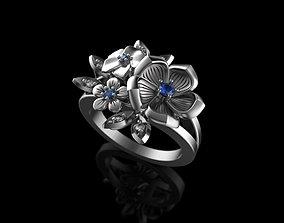 3D printable model flowers ring with gemstones