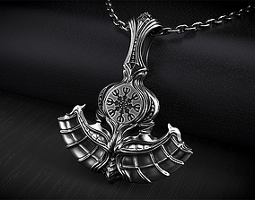 Axe of Perun Biomechanical Pendant with 3D print model 2