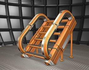 3D asset Futuristic Stairs - 12 - Orange Textures