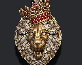 Leon pendant with diamonds and crown 3D print model