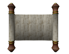 Papyrus Scroll with Hieroglyphs 3D model VR / AR ready