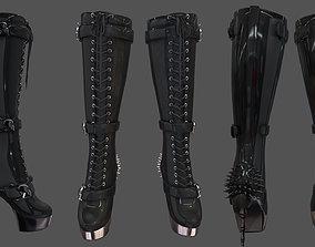Skulls Spikes Decorated High Heel Boots 3D model