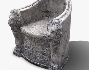 3D Roman Stone Chair High Poly colors