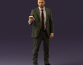 001056 businessman in darkgray suit money in hand 3D