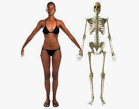 African American Female With Skeleton Rigged 3D
