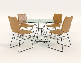 Contemporary Design Table and Chair Set 8 3D model